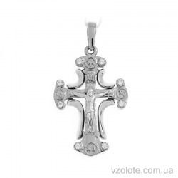 Крест из белого золота с фианитами (арт. 501658б)