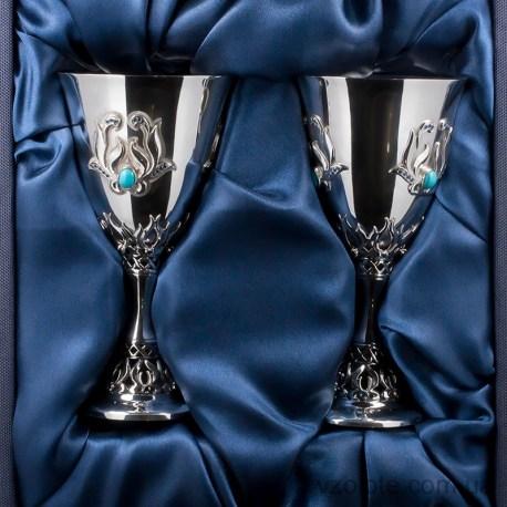 Набор серебряных бокалов Орхидея (арт. 8160002-Н2)