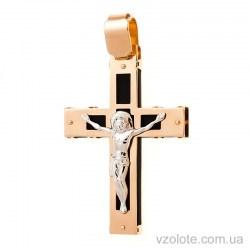 Золотой православный крест с каучуком (арт. 940022)