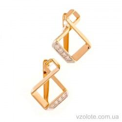 Золотые сережки с фианитами Совелисс (арт. 490014)