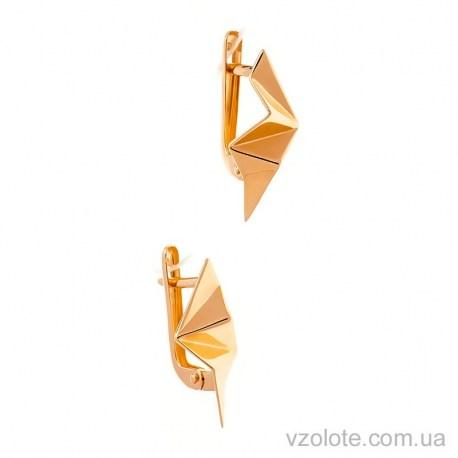 Золотые серьги без камней Домине (арт. 400270)