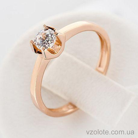 Золотое кольцо с фианитом (цирконием) (арт. 140574)