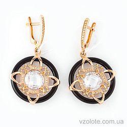 Золотые серьги с агатом и фианитами (арт. 459297)