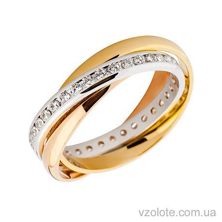 Золотое обручальное кольцо Тринити с фианитами