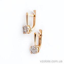 Золотые серьги с фианитами (цирконием) (арт. 110400)