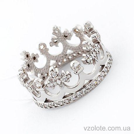 Золотое кольцо Корона с фианитами (цирконием) (арт. 11920-б)