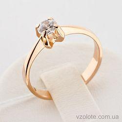 Золотое кольцо с фианитом (цирконием) (арт. 140232)