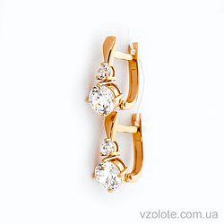 Золотые серьги с фианитами (арт. 110442)