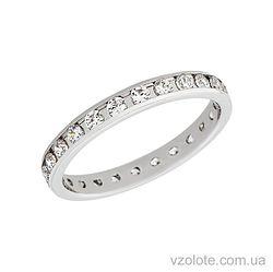 Золотое обручальное кольцо с фианитами (арт. 422813)