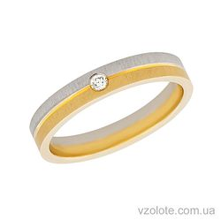 Золотое обручальное кольцо с фианитом (арт. 452677)