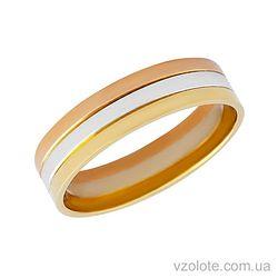 Золотое обручальное кольцо трехцветное Аполлон