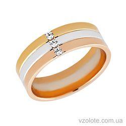 Золотое обручальное кольцо трехцветное с фианитами Ангелина
