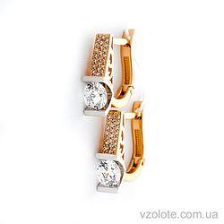Золотые серьги с фианитами (арт. 118000)