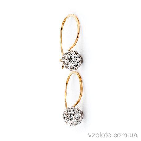 Золотые серьги с фианитами (арт. 110445)