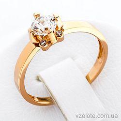Золотое кольцо с фианитами (арт. 140639)