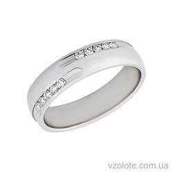 Золотое обручальное кольцо из белого золота с бриллиантами (арт. 4211209-5бр)