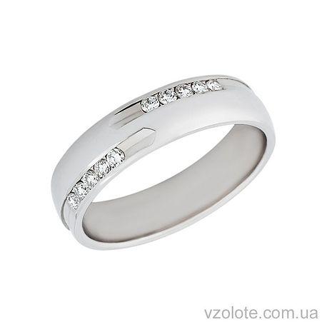 Золотое обручальное кольцо из белого золота с бриллиантами (арт. Адония)