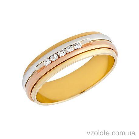 Золотое обручальное кольцо с бриллиантами (арт. 472681-бр)