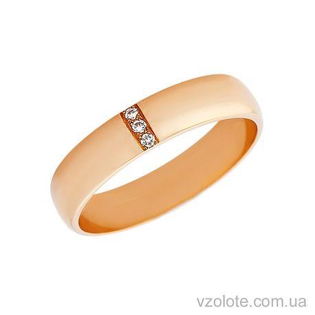 Золотое обручальное кольцо классическое с бриллиантами (арт. 1004-3бр)