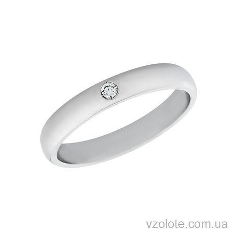 Обручальное кольцо с бриллиантом классическое из белого золота (арт. 4211922-1бр)