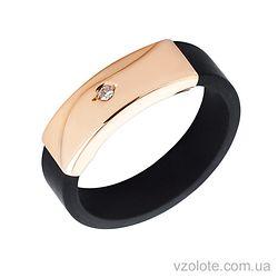 Каучуковое кольцо с золотой вставкой (арт. 900621)