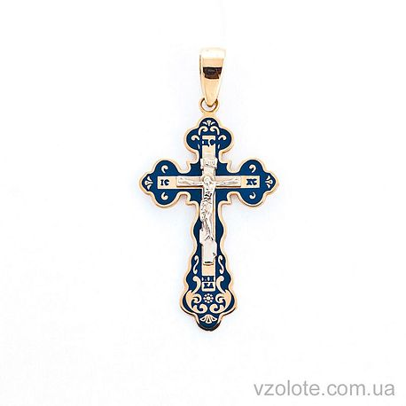 Золотой крестик с эмалью (арт. 505001с)