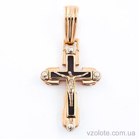 Золотой крест с фианитами и эмалью (арт. 270054е)