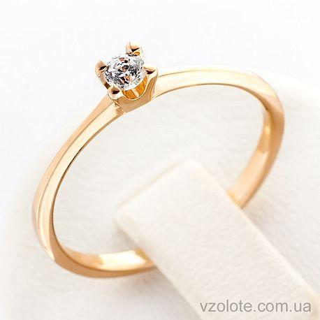 Золотое кольцо с фианитом (арт. 12298с)