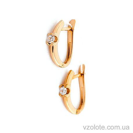 Золотые серьги с фианитами (арт. 110386)