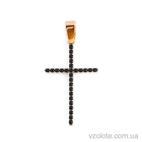 Золотой крестик с фианитами (арт. 440418ч)