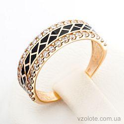 Золотое кольцо с эмалью и фианитами (арт. 380147еч)