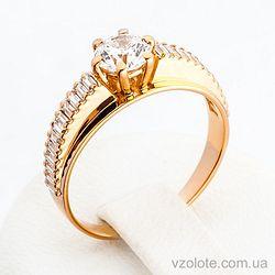 Золотое кольцо с фианитами (цирконием) (арт. 140421)