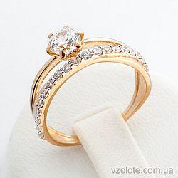 Золотое кольцо с фианитами (цирконием) (арт. 140444)