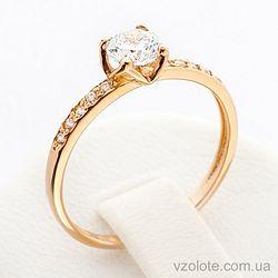 Золотое кольцо с фианитами (цирконием) (арт. 12479)