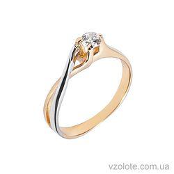 Золотое кольцо с фианитами (цирконием) (арт. 140487)