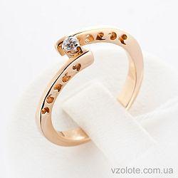 Золотое кольцо с фианитом (цирконием) (арт. 11956)