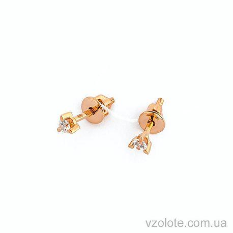 Золотые пусеты с фианитами (арт. 110388)