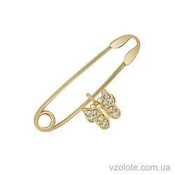 Золотая булавка с фианитами (арт. 6101346103)