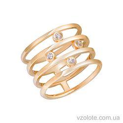 Золотое кольцо с фианитами (арт. 1101132103)