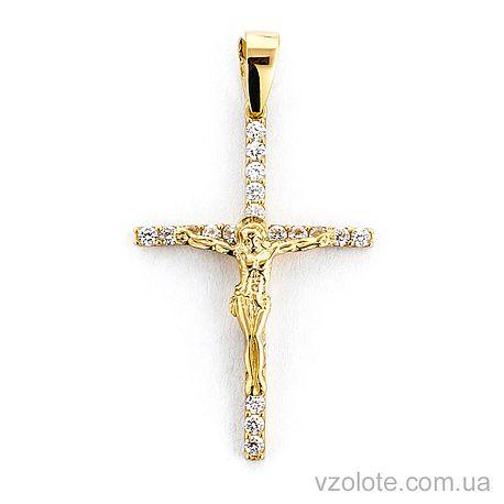 Золотой крестик с фианитами (арт. 501387ж)