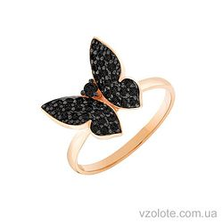 Золотое кольцо с фианитами Бабочка (арт. 1190016101ч)