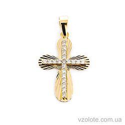 Золотой крестик с фианитами (арт. 443822ж)