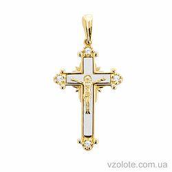 Золотой крестик с фианитами (арт. 501359жб)