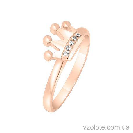 Золотое кольцо корона с фианитом (арт. 1101142101)