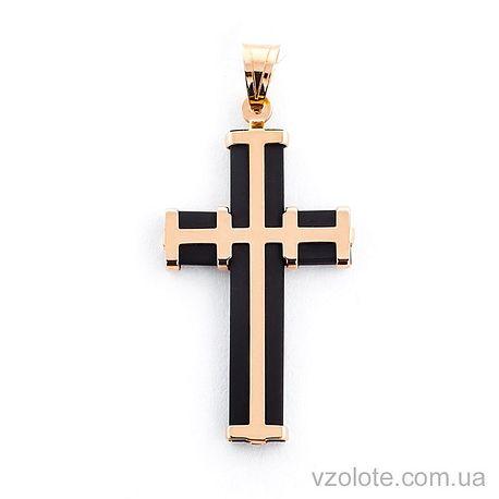 Крестик из каучука с золотом (арт. 940010)