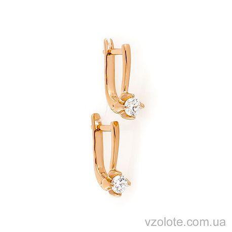 Золотые серьги с фианитами (арт. 2190752101)