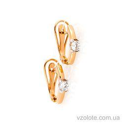Золотые серьги с фианитами (арт. 2191119101)