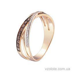 Золотое кольцо с черными фианитами (арт. 1190870101к)