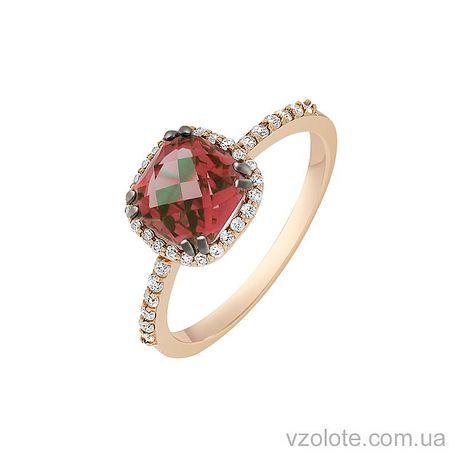 Золотое кольцо с рубином и фианитами (арт. 1191068101р)