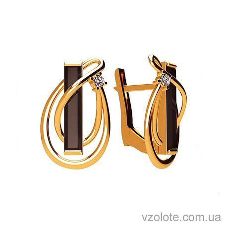 Золотые серьги с агатами (арт. 449634)